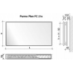 Radiatorius PURMO FC 21s, 900-2000, pajungimas šone