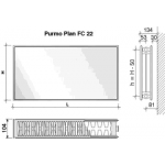 Radiatorius PURMO FC 22, 500-3000, pajungimas šone