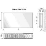 Radiatorius PURMO FC 22, 600-2600, pajungimas šone