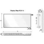 Radiatorius PURMO FCV 11, 500-2600, pajungimas apačioje