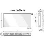 Radiatorius PURMO FCV 21s, 600-1600, pajungimas apačioje