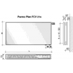 Radiatorius PURMO FCV 21s, 600-2300, pajungimas apačioje