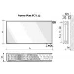 Radiatorius PURMO FCV 22, 600-1400, pajungimas apačioje