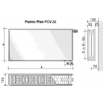 Radiatorius PURMO FCV 22, 600-2000, pajungimas apačioje