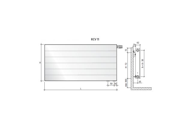 Radiatorius PURMO RCV 11, 600-1000, pajungimas apačioje
