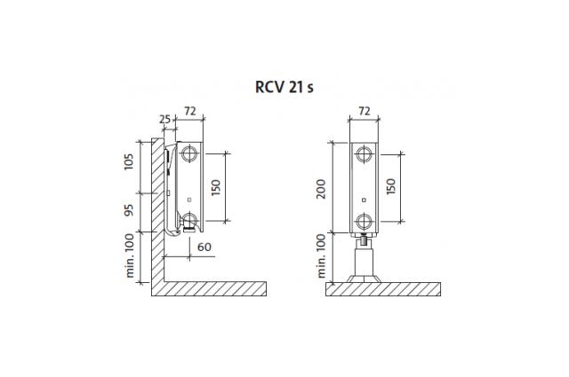 Radiatorius PURMO RCV 21s 200-, 1400, pajungimas apačioje (be laikiklių)