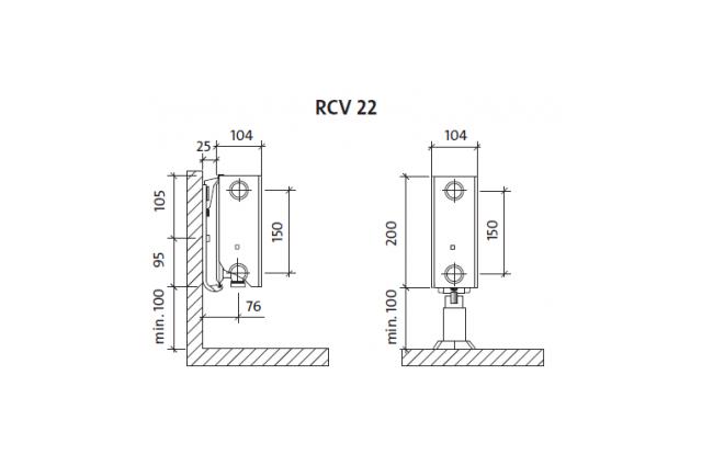 Radiatorius PURMO RCV 22 200-, 2600, pajungimas apačioje (be laikiklių)