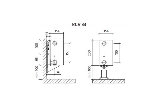 Radiatorius PURMO RCV 33 200-, 1600, pajungimas apačioje (be laikiklių)