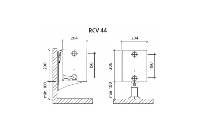 Radiatorius PURMO RCV 44 200-, 900, pajungimas apačioje (be laikiklių)