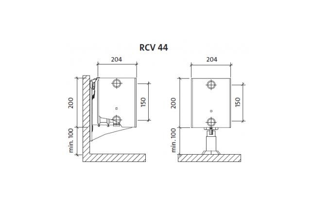 Radiatorius PURMO RCV 44 200-, 1600, pajungimas apačioje (be laikiklių)