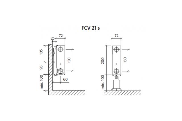 Radiatorius PURMO FCV 21s 200-, 1800, pajungimas apačioje (be laikiklių)