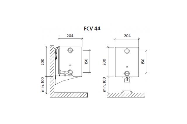 Radiatorius PURMO FCV 44 200-, 1100, pajungimas apačioje (be laikiklių)