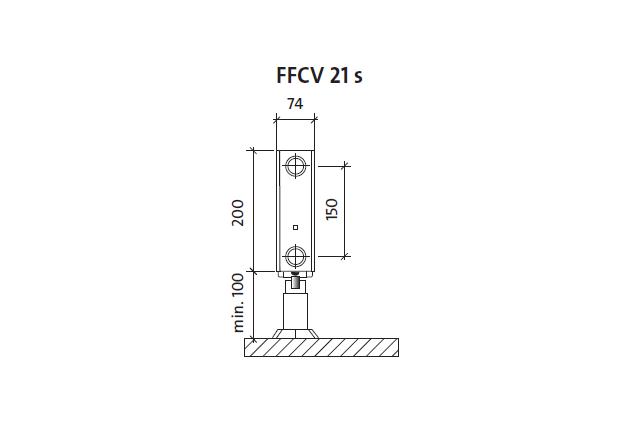 Radiatorius PURMO FFCV 21s 200-, 600, pajungimas apačioje (be laikiklių)
