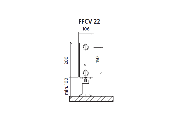 Radiatorius PURMO FFCV 22 200-, 2600, pajungimas apačioje (be laikiklių)