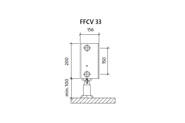 Radiatorius PURMO FFCV 33 200-, 600, pajungimas apačioje (be laikiklių)