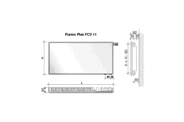 Radiatorius PURMO FCV 11, 500-1600, pajungimas apačioje