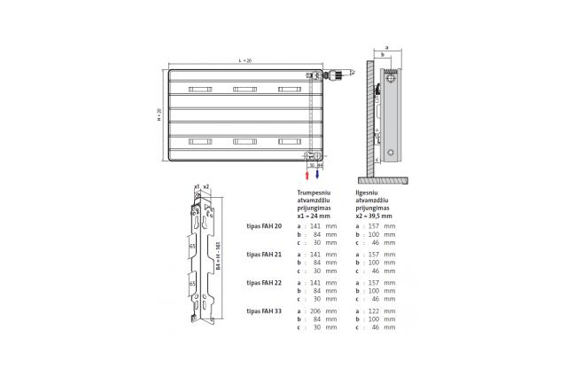 Radiatorius PURMO Kos H 22, 400-900, pajungimas apačioje