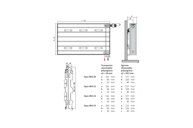 Radiatorius PURMO Faro H 20, 900-1500, pajungimas apačioje