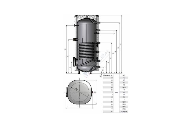 Vandens šildytuvas NIBE-BIAWAR MEGA A W-E220.81A 220L vertikalus, be teno