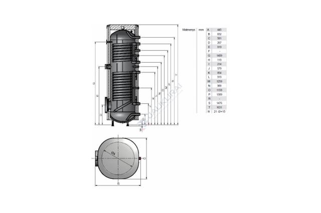 Vandens šildytuvas NIBE-BIAWAR MEGA solar W-E220.82A 220L vertikalus, be teno