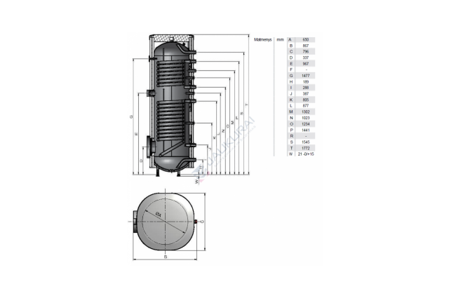 Vandens šildytuvas NIBE-BIAWAR MEGA solar W-E500.82A 500L vertikalus, be teno