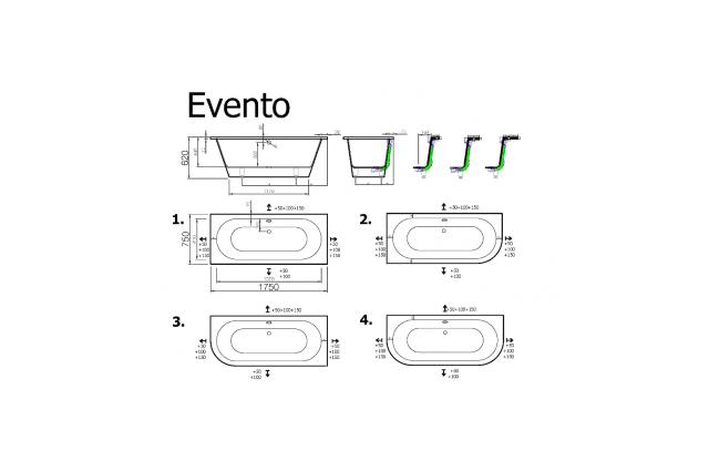 Akmens masės vonia Vispool Evento, 175x75 cm apvalinta kairė pusė balta