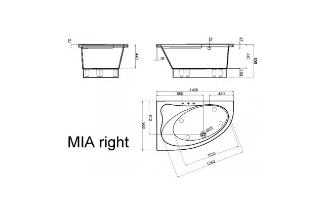 Akmens masės vonia Vispool Mia, 140x90 dešininė balta