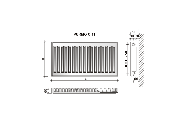 Radiatorius Purmo Compact C 11, 600-1100, pajungimas šone