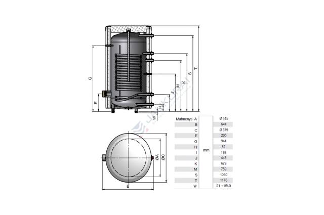 Vandens šildytuvas NIBE-BIAWAR MEGA W-E150.81 150L vertikalus, be teno