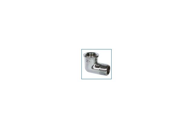 Žalvarinė chromuota alkūnė, d , 1/2'', 90*, vidus-išorė