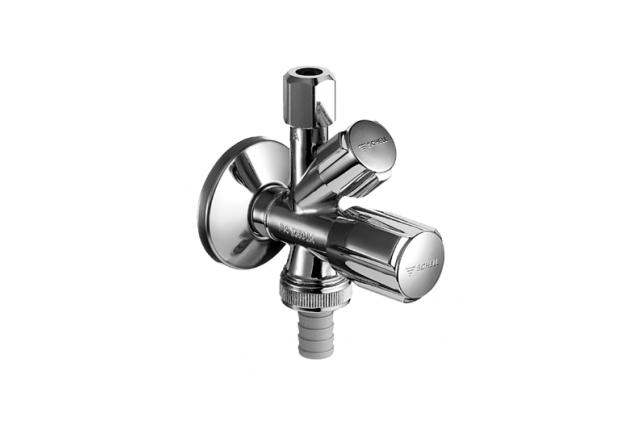 Kampinis ventilis Schell, 1/2'' x 3/8'' x 3/4'' kombinuotas