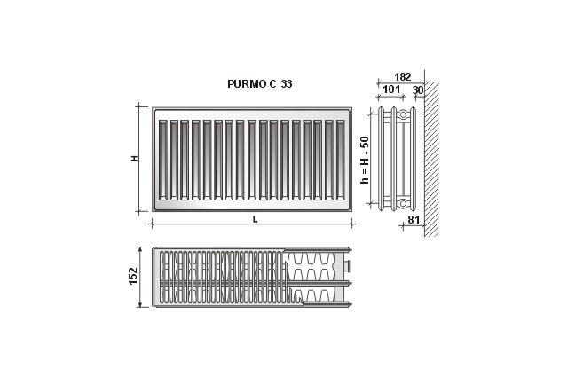 Radiatorius Purmo Compact C 33, 500-1600, pajungimas šone