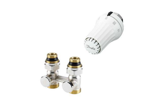 Komplektas: apatinio pajungimo mazgas Danfoss RLV-KS + termostatinė galva RAE-K, tiesus