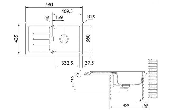 Akmens masės plautuvė Franke Strata, STG 614-78, Onyx, užkemšamas ventilis