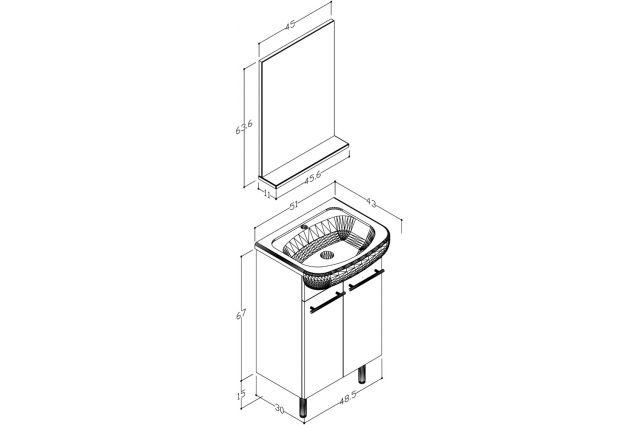 Vonios kambario baldų komplektas, 3in1 50 cm, balta