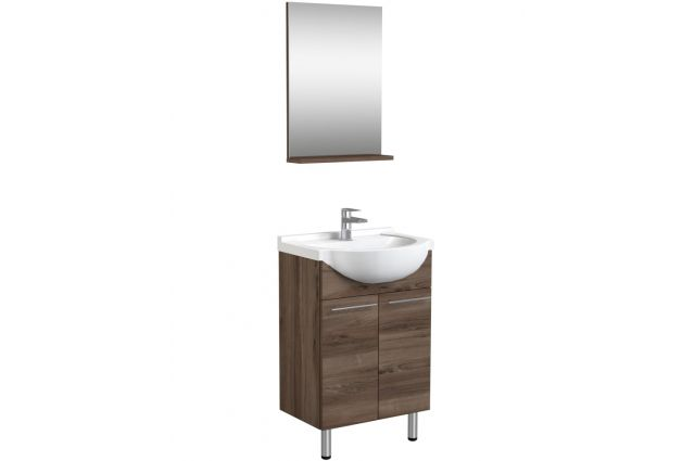 Vonios kambario baldų komplektas, 3in1 50 cm, riešuto spalva