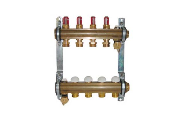 Šildymo sistemos kolektorius Herz, 4 žiedų, su srauto reguliatoriais