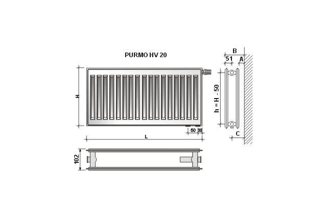 Radiatorius PURMO HV 20, 500-1000, pajungimas apačioje