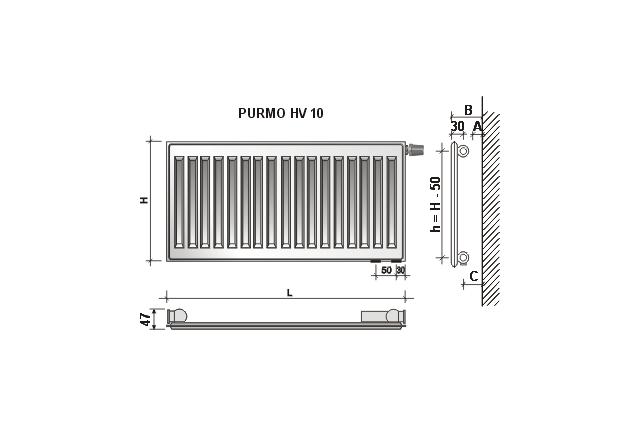 Radiatorius PURMO HV 10, 500-1200, pajungimas apačioje