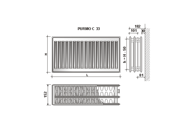 Radiatorius Purmo Compact C 33, 450-800, pajungimas šone