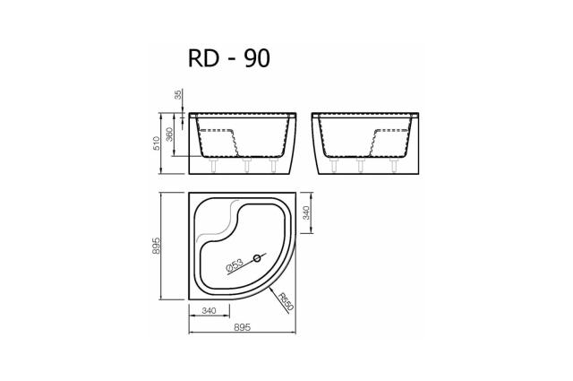 Akmens masės dušo padėklas Vispool, RD-90 gilus (R550)