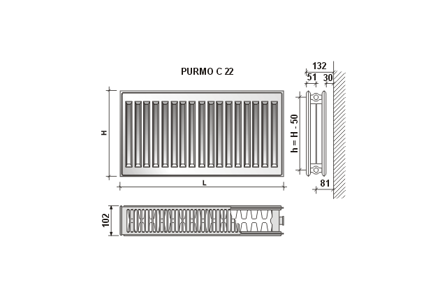 Radiatorius Purmo Compact C 22, 300-2000, pajungimas šone