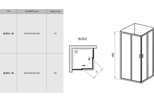 Kvadratinė dušo kabina Ravak Blix, BLRV2-80, balta+stiklas Transparent