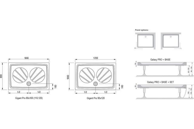 Lietas dušo padėklas Ravak Gigant Pro, 120x80 baltas