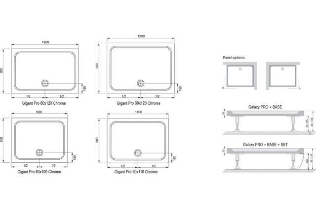 Lietas dušo padėklas Ravak Gigant Pro Chrome, 120x80 baltas