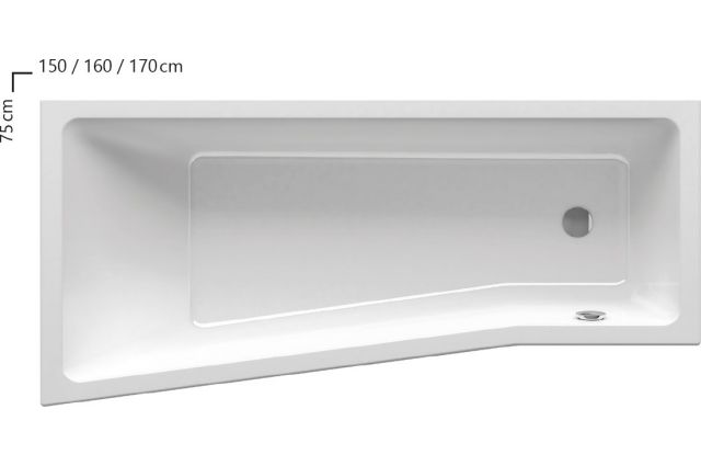 Akrilinė vonia Ravak BeHappy II, 150x75, kairinė