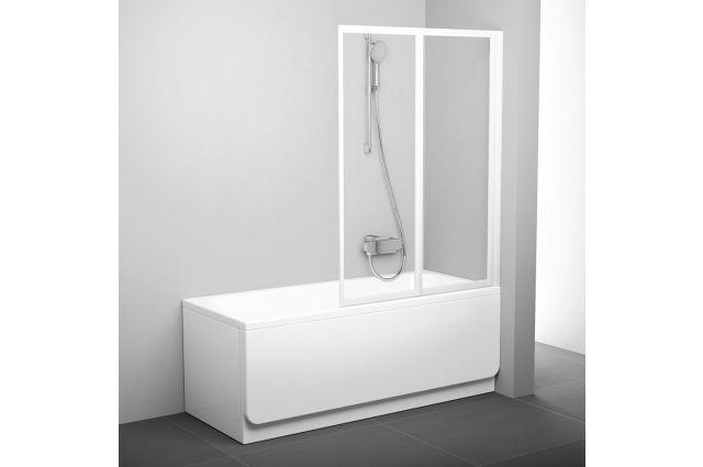 Sulankstoma vonios sienelė Ravak, VS2 105, balta+stiklas Transparent