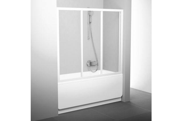 Stumdomos vonios durys Ravak, AVDP3-120, balta+stiklas Transparent