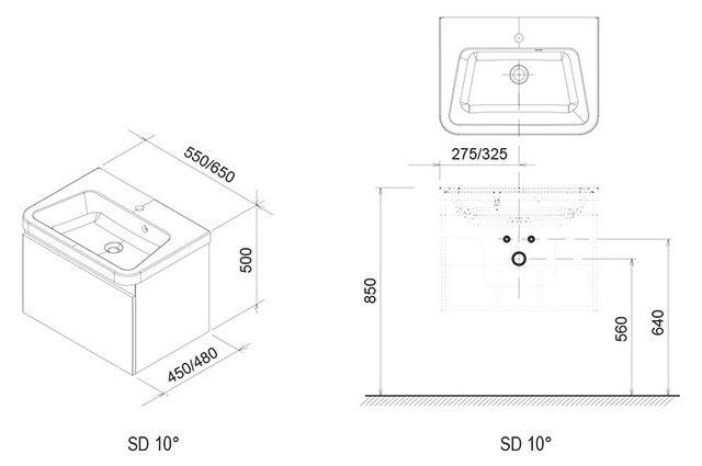 Spintelė po praustuvu Ravak SD 10°, 550 balta su vienu stalčiumi