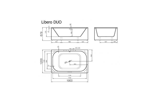 Akmens masės vonia Vispool Libero Duo, 190x120 balta